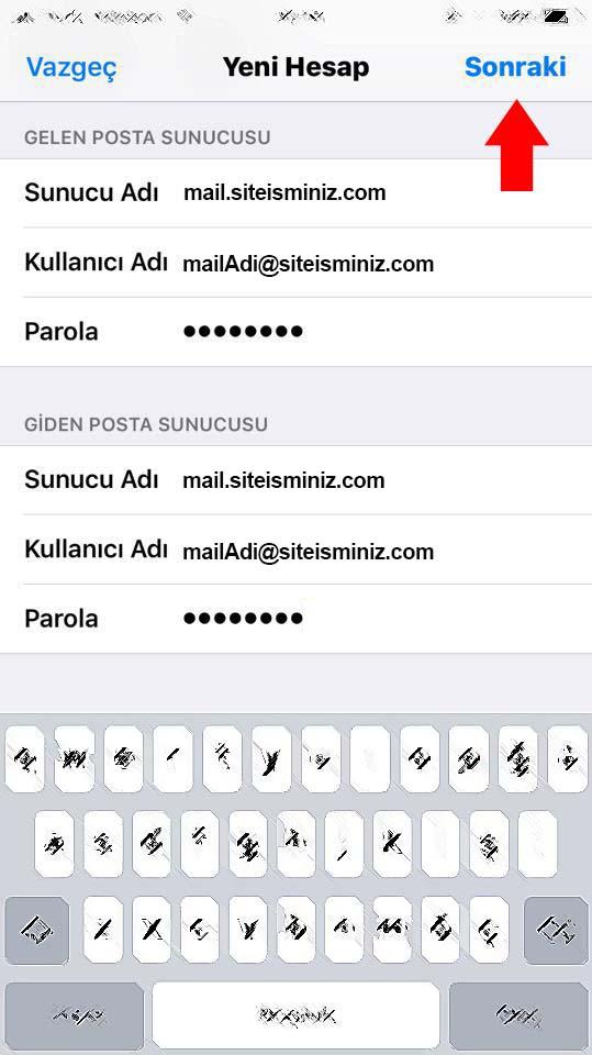 iPhone için E-Posta Kurulumu 7